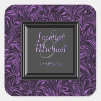 El negro púrpura veteó a los pegatinas de las calcomania cuadrada personalizada