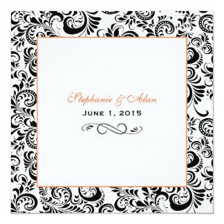 El negro remolina invitación anaranjada del boda invitación 13,3 cm x 13,3cm