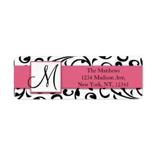 El negro remolina las etiquetas rosadas del remite etiqueta de remite