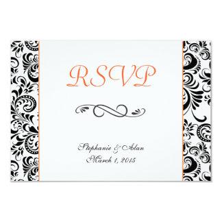 El negro remolina tarjeta anaranjada de RSVP Invitación 8,9 X 12,7 Cm