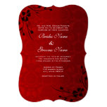 El negro remolina un boda metálico rojo más ligero invitación 12,7 x 17,8 cm