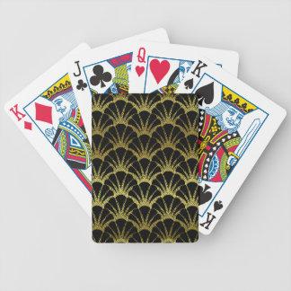 El negro retro del art déco/el oro Shell escala el Baraja Cartas De Poker