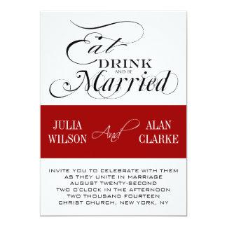 El negro rojo come, bebe, sea boda casado invita invitación 12,7 x 17,8 cm
