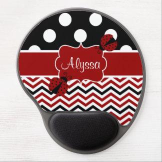 El negro rojo puntea Chevron Ladybut personalizado Alfombrilla De Raton Con Gel