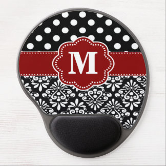 El negro rojo puntea el monograma Mousepad del dam Alfombrilla De Raton Con Gel