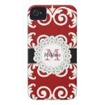 El negro rojo remolina casamata floral del iPhone  iPhone 4 Case-Mate Funda