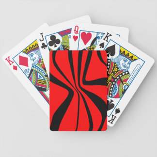 El negro rojo remolina modelo moderno de los baraja de cartas bicycle
