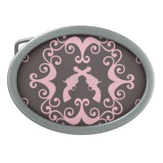 El negro rosado del damasco dispara contra las pis hebillas cinturón ovales