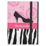 El negro rosado lindo calza el estampado de zebra