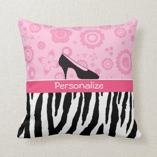 El negro rosado lindo calza el estampado de zebra cojines