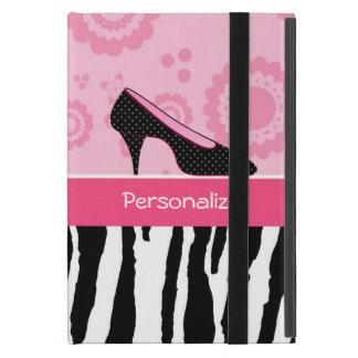 El negro rosado lindo calza el estampado de zebra iPad mini fundas