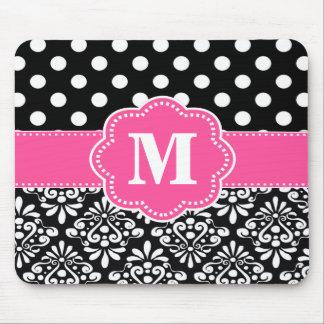 El negro rosado puntea el cojín de ratón del monog mouse pad