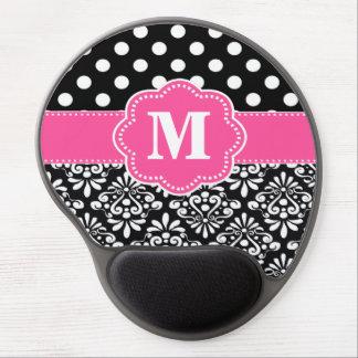 El negro rosado puntea el monograma Mousepad del Alfombrillas De Ratón Con Gel