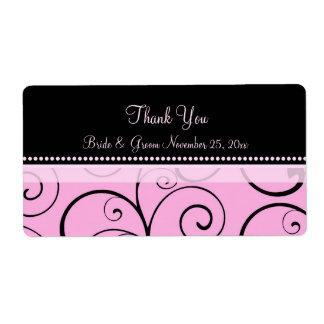 El negro rosado remolina las etiquetas del boda etiquetas de envío