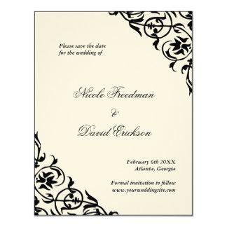 """El negro sentía reserva formal del boda la tarjeta invitación 4.25"""" x 5.5"""""""