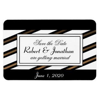 El negro y el boda gay del oro ahorran la fecha imanes