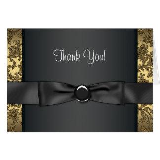 El negro y el oro del lazo negro le agradecen las tarjeta pequeña