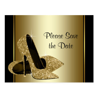 El negro y el zapato del tacón alto del oro tarjeta postal