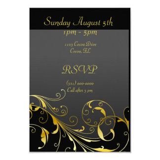 El negro y la casa abierta del oro invitan a la invitación 8,9 x 12,7 cm
