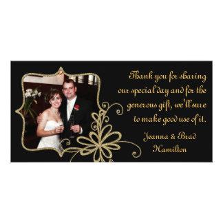 El negro y la foto del boda del oro le agradecen tarjeta fotografica