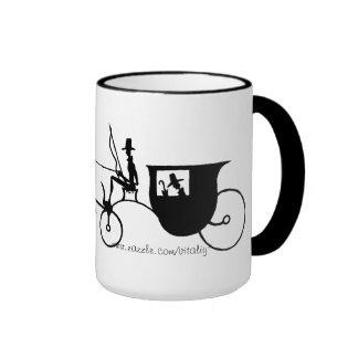 El negro y la pluma del carro del caballo del vint taza de café