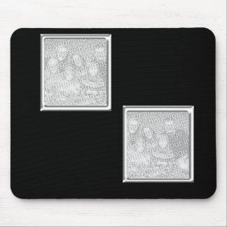 el negro y platea el marco de 2 fotos alfombrilla de ratón