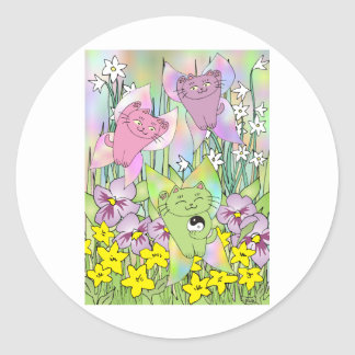 El Nekos de hadas de la primavera Pegatina Redonda