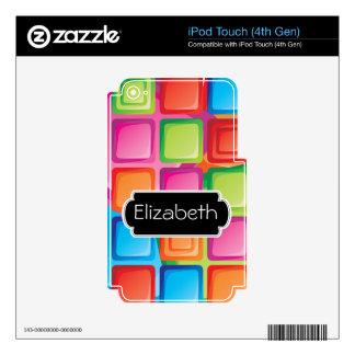 El neón ajusta la piel del MP3 del monograma del iPod Touch 4G Skin
