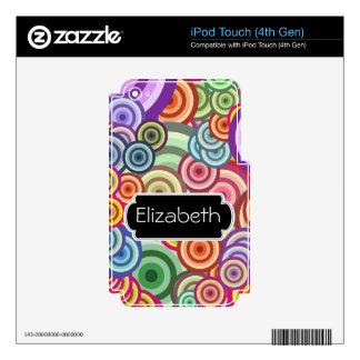 El neón circunda la piel del MP3 del monograma del iPod Touch 4G Skin