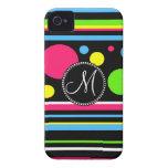 El neón colorido del monograma de encargo raya lun Case-Mate iPhone 4 carcasas