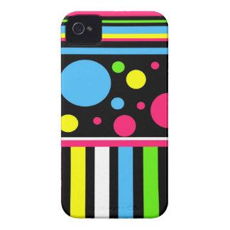 El neón colorido raya verde azul rosado de los iPhone 4 Case-Mate protector
