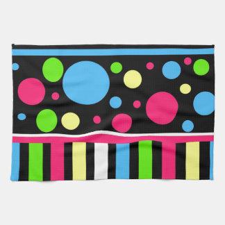 El neón colorido raya verde azul rosado de los lun toalla de mano