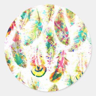 El neón de moda fresco de la acuarela salpica pegatina redonda