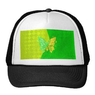 El neón dos entona la mariposa en amarillo y verde gorras de camionero