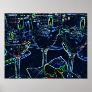 El neón grabó al agua fuerte a amantes del vino póster