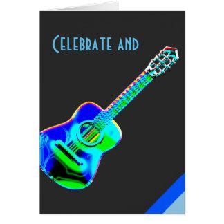 El neón moderno colorea cumpleaños de la música de tarjeta de felicitación