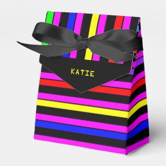 El neón personalizado raya la caja del favor de cajas para regalos