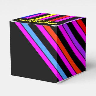 El neón raya la caja negra del favor de fiesta cajas para detalles de boda