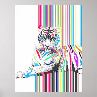 el neón vibrante colorido de moda raya dolor del póster