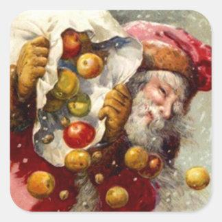 El nevar del saco de las manzanas de Santa del Calcomanía Cuadradas Personalizadas