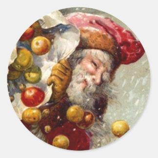 El nevar del saco de las manzanas de Santa del Etiquetas Redondas