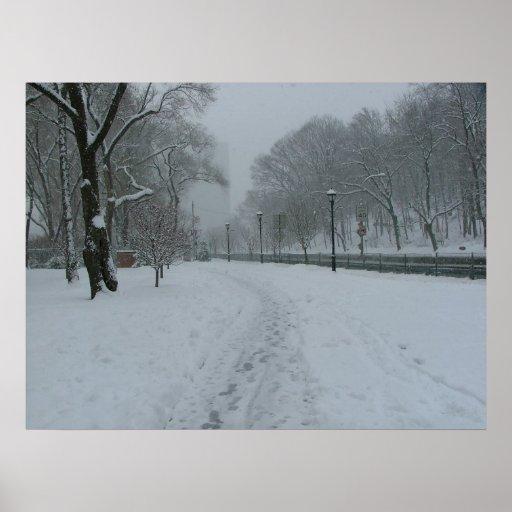 El nevar en nuevo Yok Póster