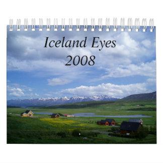 El *New* Islandia observa 2008, con el texto Calendarios