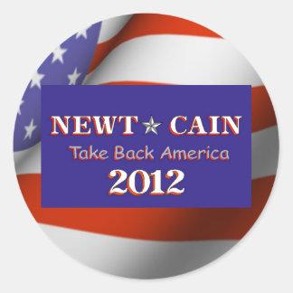 El Newt Caín retira América 2012 Pegatina Redonda