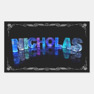 El Nicholas conocido - nombre en las luces fotogr Rectangular Pegatinas