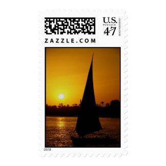 El Nilo en la puesta del sol Estampilla