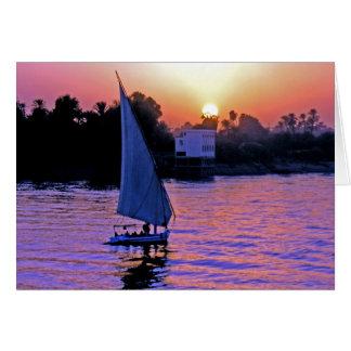 El Nilo y Felucca en la puesta del sol (2) Felicitacion