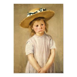 El niño de Cassatt en gorra de paja - con una Invitación 12,7 X 17,8 Cm