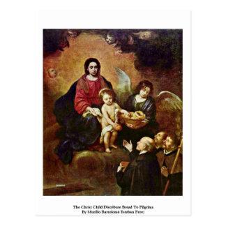 El niño de Cristo distribuye el pan a los peregrin Postal