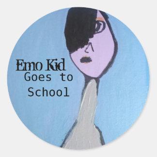 El niño de Emo va a los pegatinas grandes de la Pegatina Redonda